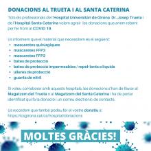 Comunicat de les donacions de material de protecció individual a l'Hospital Josep Trueta