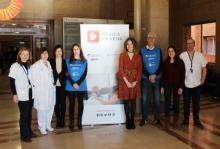 Representants de l'organització de la Fundació Antigues Caixes Catalanes i BBVA amb Música en Vena i de l'hospital Trueta